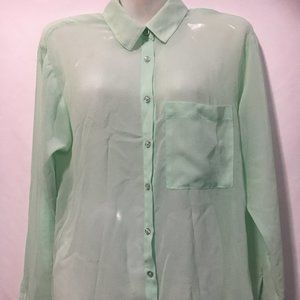 Garage Sheer Green Blouse XS With BLK Camisole M